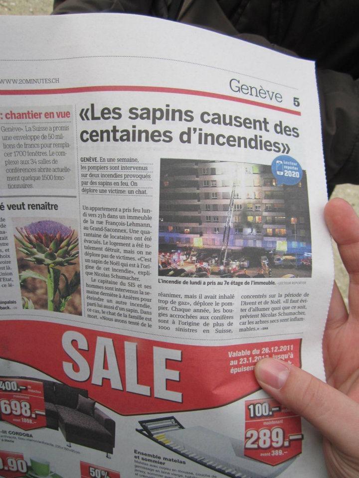 Masuk koran hari kedua di Jenewa (photo courtesy of Hana)