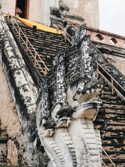 One of the nagas guarding Wat Chedi Luang